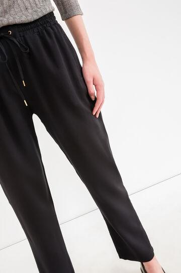 Pantaloni tuta pura viscosa coulisse, Nero, hi-res