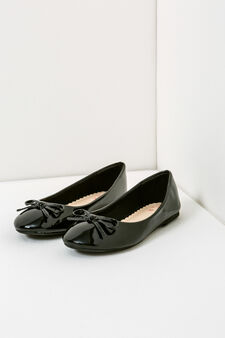 Patent ballerina pumps with bow, Black, hi-res
