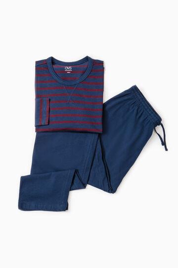 Striped pattern cotton pyjamas, Blue/Red, hi-res