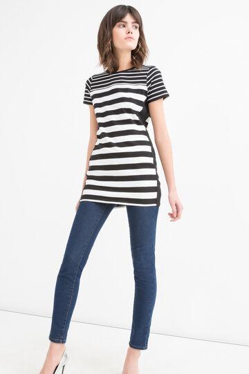 100% cotton T-shirt with stripes, Black/White, hi-res