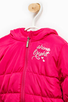 Solid colour down jacket with print, Fuchsia, hi-res