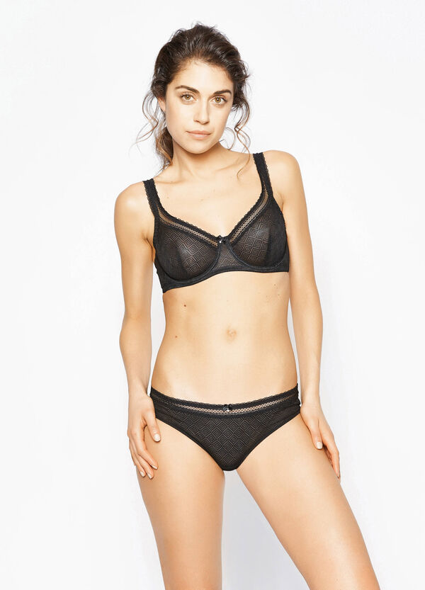 Soft bra with diamond weave lace | OVS
