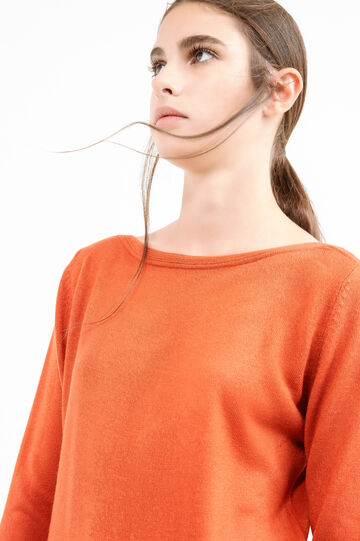 Knitted pullover with boat neck, Orange, hi-res