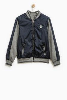 Windbreaker with fleece sleeves, Dark Blue, hi-res