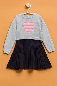 Embroidered knit dress, Blue/Grey, hi-res