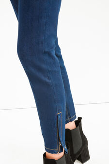Skinny-fit stretch jeans with zip, Dark Wash, hi-res