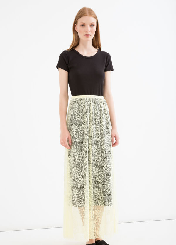 Solid colour long openwork skirt | OVS