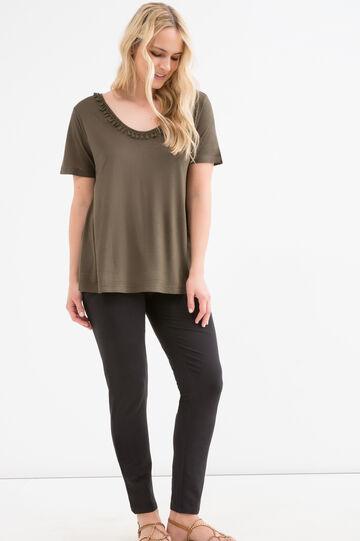 T-shirt misto viscosa Curvy, Verde militare, hi-res