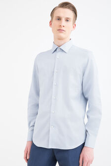 Slim-fit shirt in 100% cotton, Soft Blue, hi-res