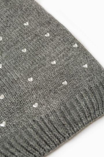 Beanie cap with diamanté heart, Grey Marl, hi-res