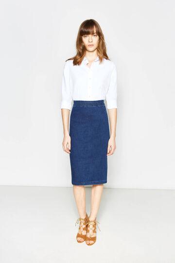 Denim pencil skirt with high waist, Navy Blue, hi-res