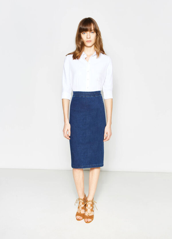 Denim pencil skirt with high waist | OVS