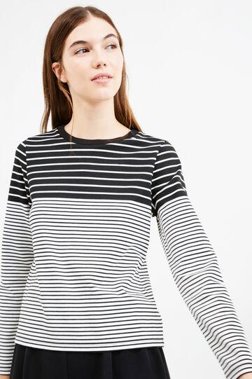 T-shirt viscosa stretch fantasia righe, Nero/Bianco, hi-res