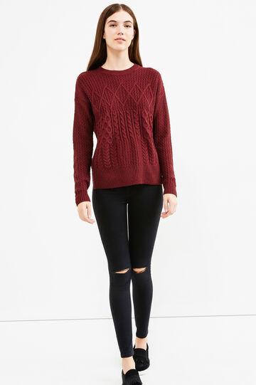 Pullover lavorato tricot a trecce, Viola vinaccia, hi-res