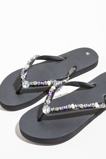 Flip flops with diamantés and beads