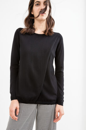 Solid colour cotton-viscose blend pullover, Black, hi-res