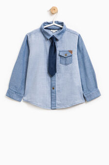 Shirt in 100% cotton with tie, Soft Blue, hi-res
