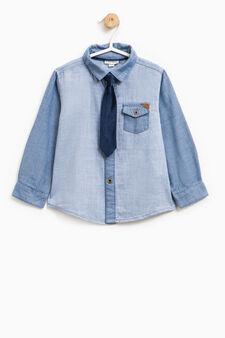 Camicia puro cotone con cravatta, Blu chiaro, hi-res
