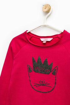 100% cotton sweatshirt with glitter print, Cherry Red, hi-res