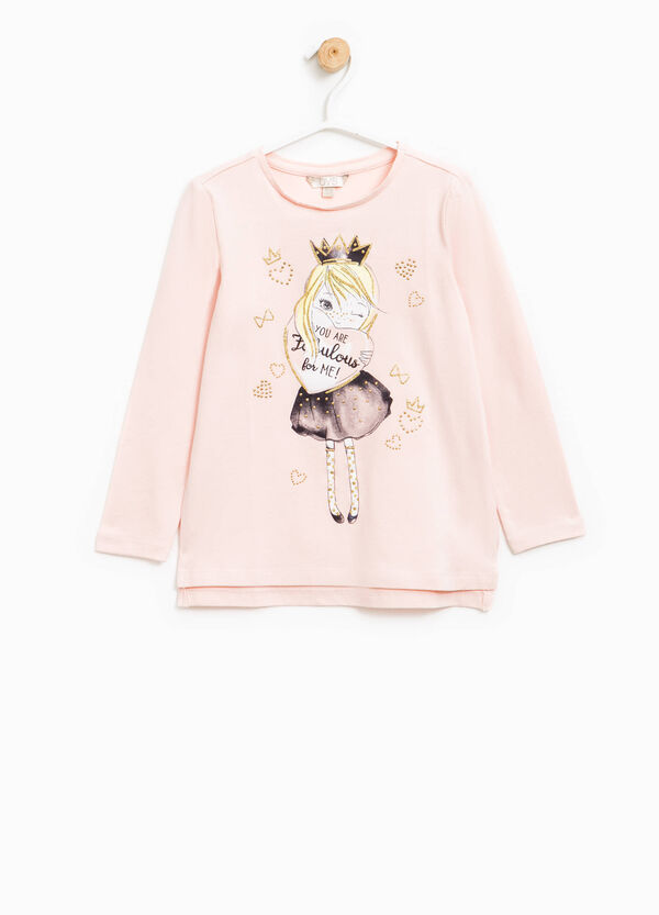 Camiseta estampada con purpurina y strass | OVS