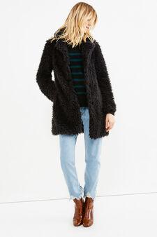 Faux fur jacket, Black, hi-res