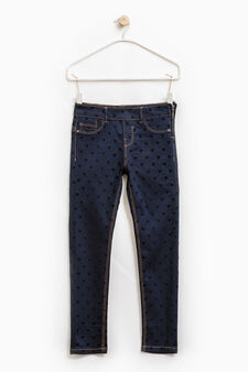 Stretch jeggings with heart pattern, Indigo Blue, hi-res