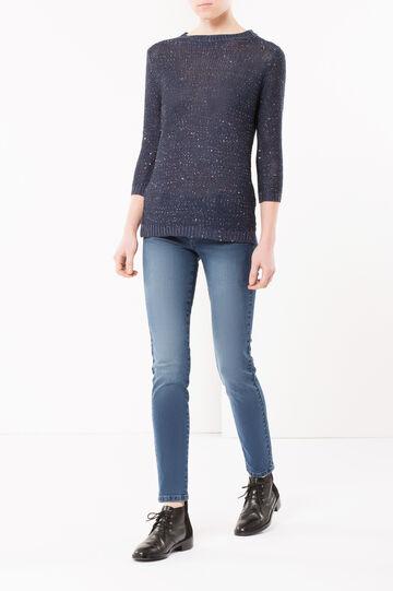 Maglia tricot con paillettes, Blu avio, hi-res