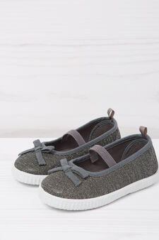 Glitter slip-ons with bow, Grey, hi-res