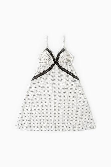 Camicia da notte viscosa stampata, Bianco, hi-res