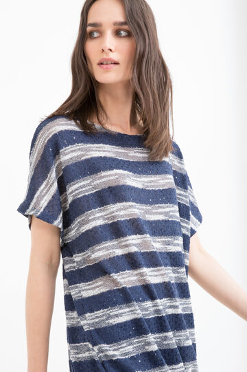 T-shirt in striped viscose blend