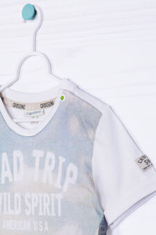 Cotton T-shirt with contrasting colour print, Cream White, hi-res