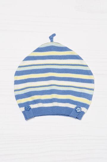 Cappello a cuffia in cotone a righe, Blu/Giallo, hi-res