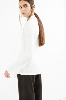 Ribbed T-shirt with high neck., Milky White, hi-res