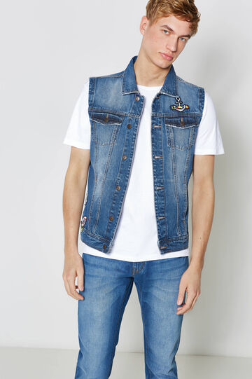 Gilet di jeans delavato con patch, Denim, hi-res