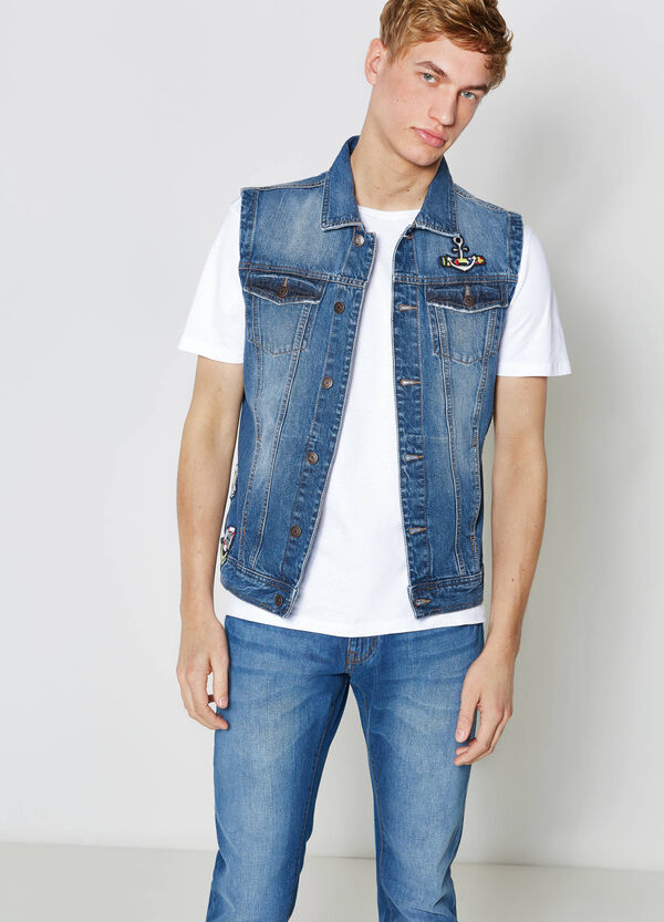 Washed-effect denim gilet with patches | OVS