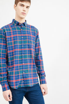 Casual tartan shirt in 100% cotton, Green/Red, hi-res