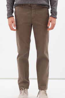 Stretch cotton trousers with crease, Forest Green, hi-res