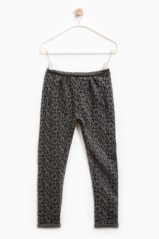 Stretch cotton leggings with animal print, Grey Marl, hi-res