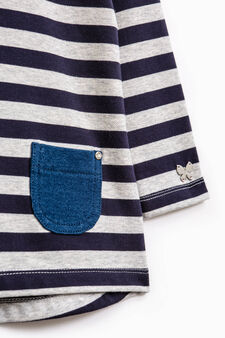 Striped stretch cotton outfit, White/Blue, hi-res