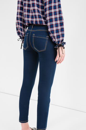 Jeans crop stretch, Blu scuro, hi-res