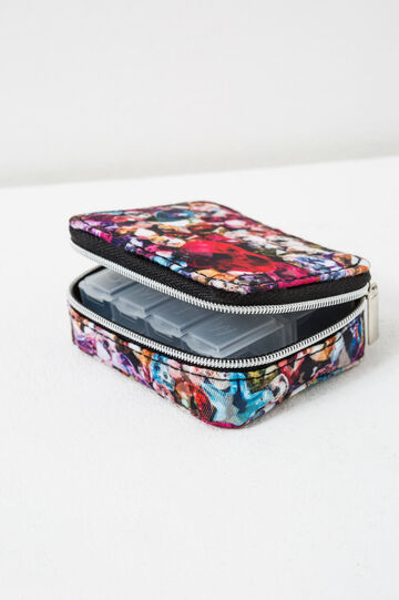 Printed pill box with zip, Multicolour, hi-res