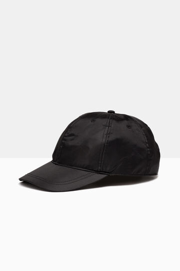 Cappellino con visiera lucido, Nero, hi-res