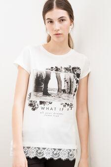 T-shirt cotone viscosa ricami floreali, Bianco latte, hi-res