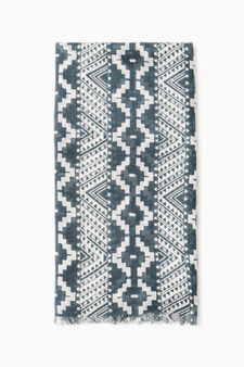 Patterned pashmina in 100% viscose, Grey, hi-res