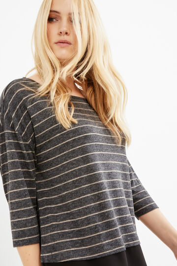 Curvy T-shirt with striped three-quarter sleeves, Slate Grey, hi-res