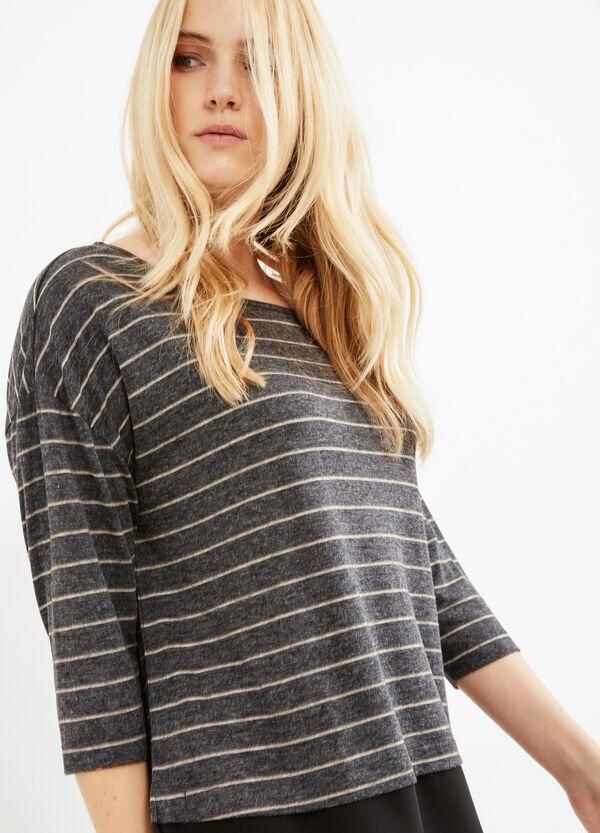T-shirt maniche tre quarti a righe Curvy | OVS