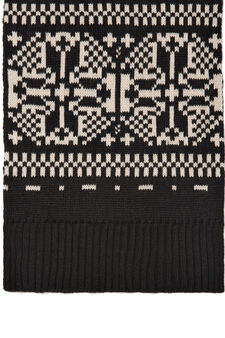 Knitted embroidered scarf, Black, hi-res
