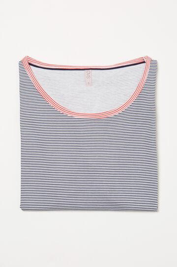 Pyjama top in striped cotton, White, hi-res