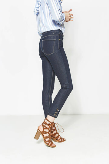 Jeans skinny fit bottoni alle caviglie, Blu scuro, hi-res