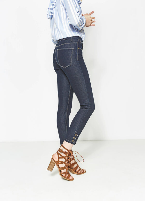 Skinny-fit jeans with buttons at the ankles | OVS